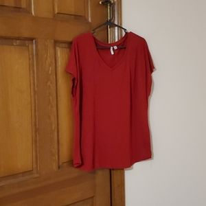 Cato 1946 red XL cap sleeves v neck top